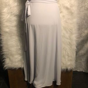Aritzia Dresses - Aritzia Babaton Light Gray Slit Wrap Midi Dress S